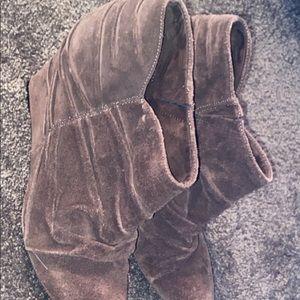 Nine West Brown Booties w wedge